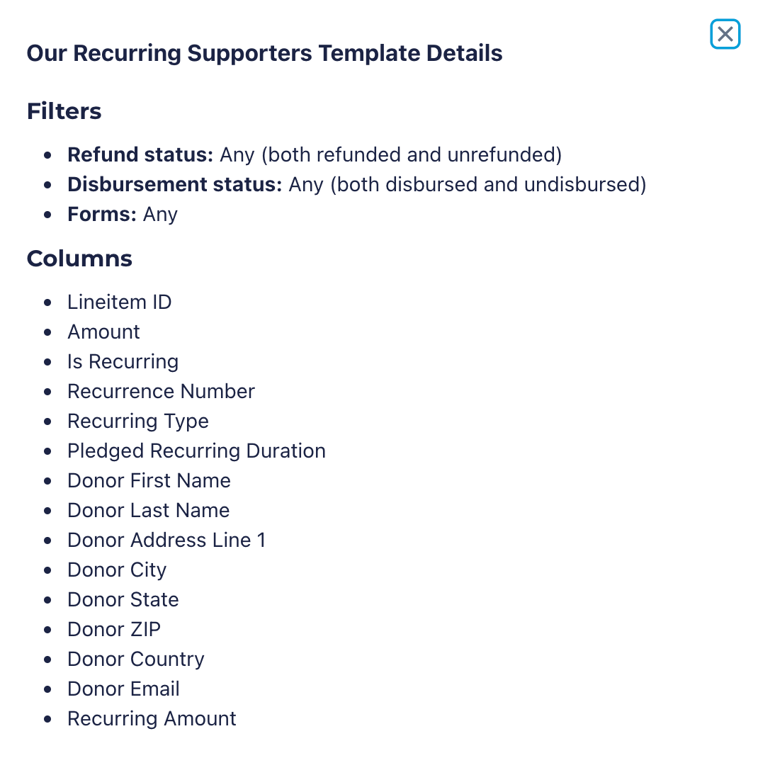 saved report template